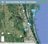 Google map to Central Brevard County birding sites.