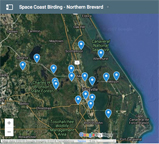 Google map to Northern Brevard County birding sites.
